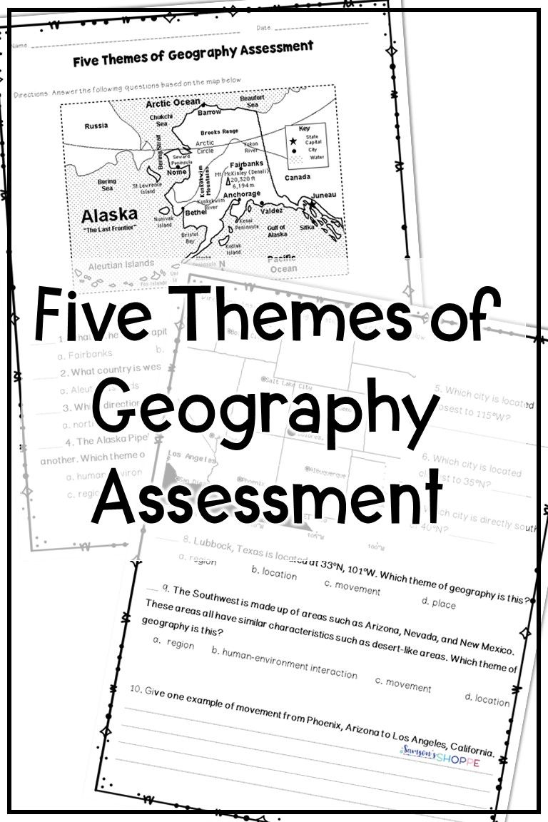 Five Themes Of Geography Assessment Geography Worksheets Five Themes Of Geography Kindergarten Worksheets