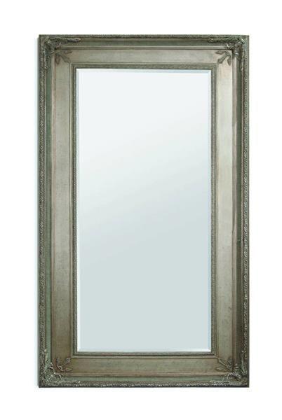 Prazzo Old World Antique Silver Wood Leaner Mirror