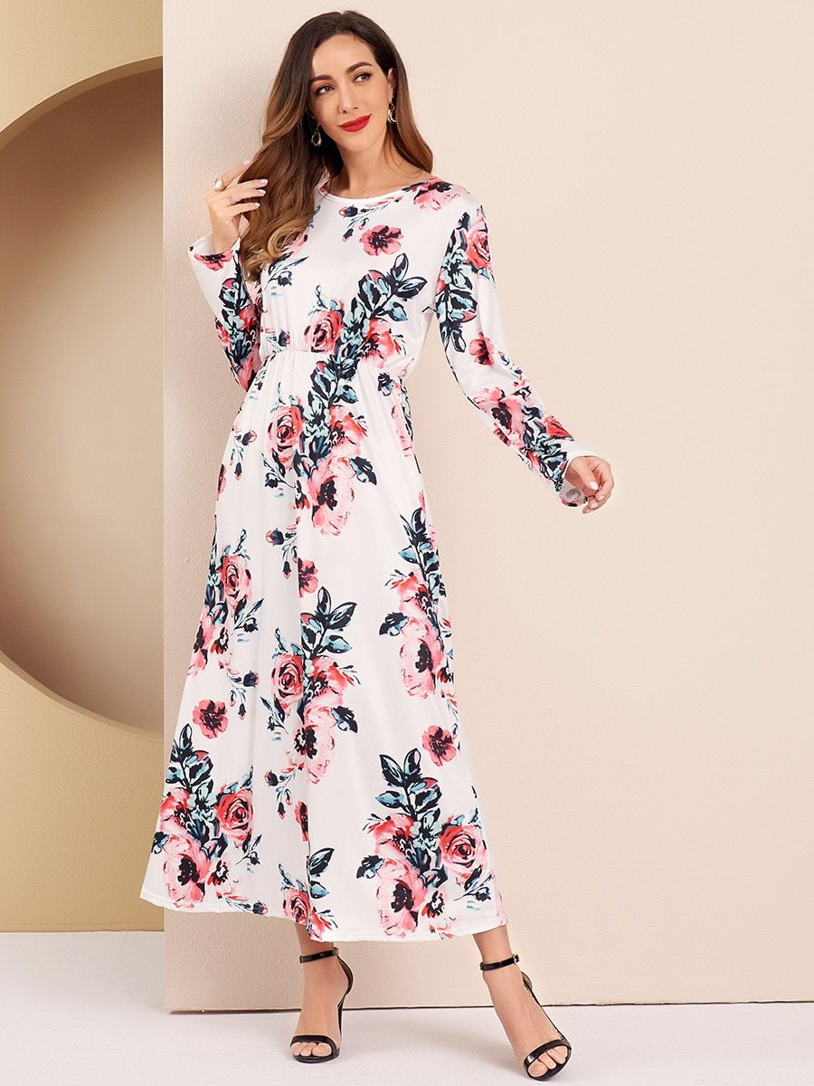 Traditional Chinese Floral Womens Dress Long Sleeves A Line Casual Dress Grace