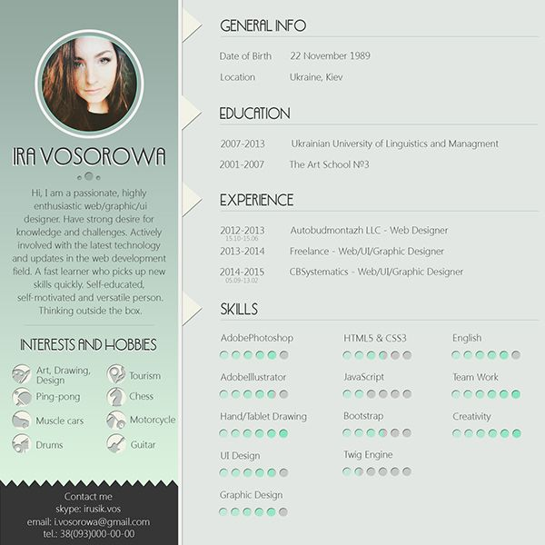 Mint Cv Design On The Links Below You Can Get Free Psd Template