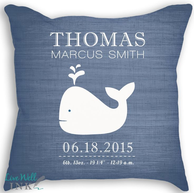Whale - Custom Baby Girl or Boy Name Throw Pillow w Insert - Nursery - Birth Announcement - Baby Boy or Girl Nursery - Newborn Gift by livewellink on Etsy https://www.etsy.com/listing/249868193/whale-custom-baby-girl-or-boy-name-throw