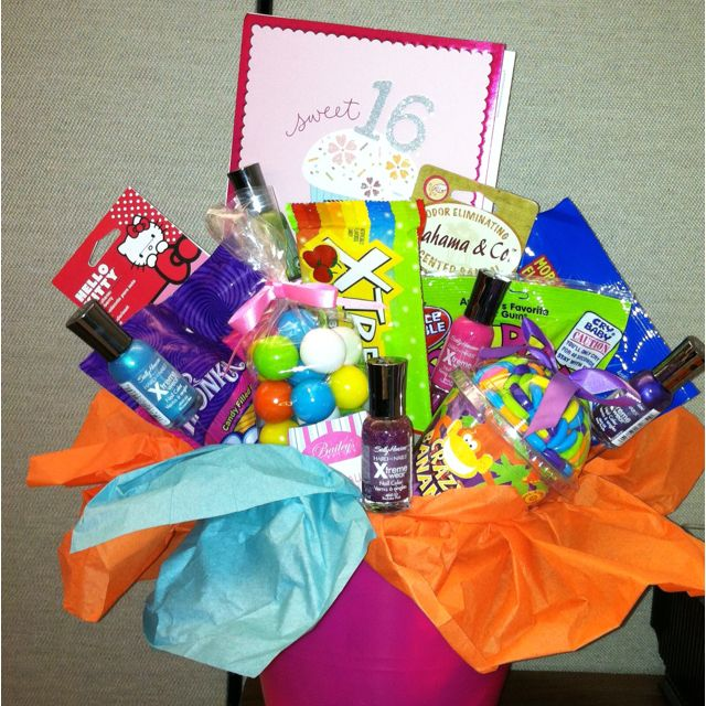 Sweet 16 Birthday Basket I Made For My Niece Full Of All Kind Goodies Nail Polish Car Air Fresheners And Gas Gift Card