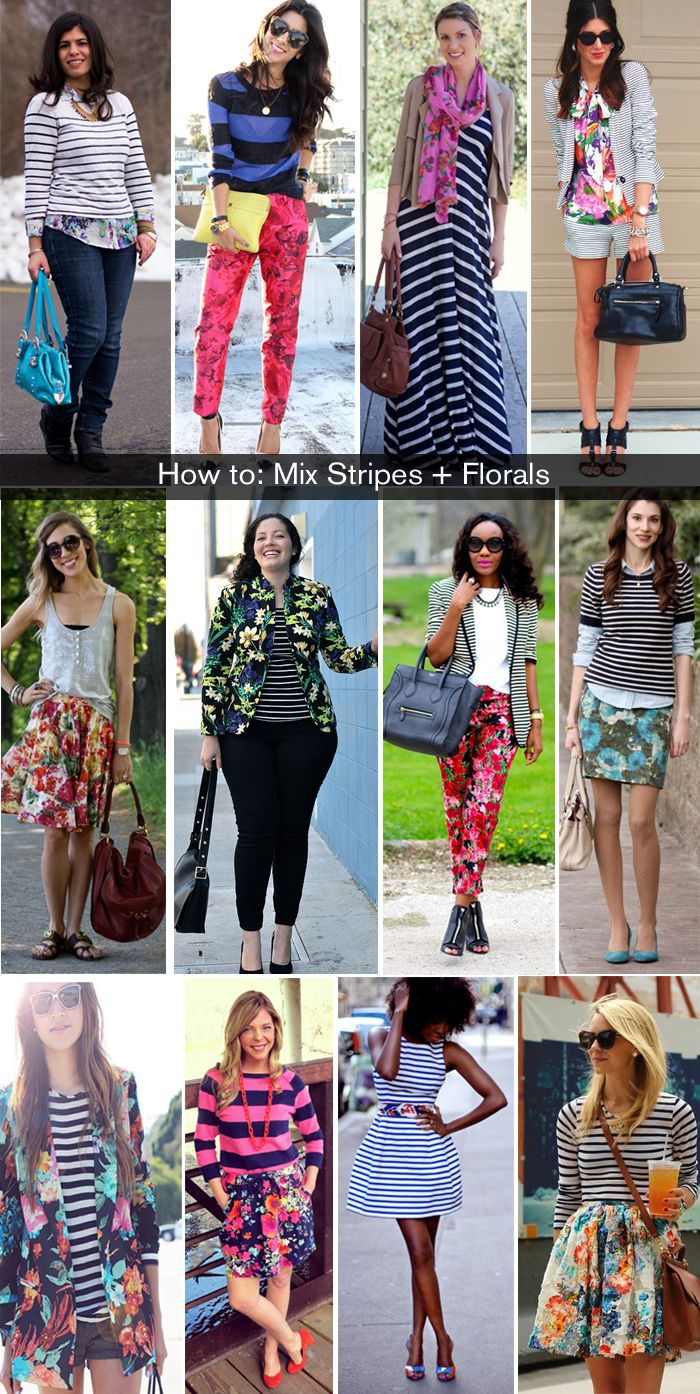 How To Wear Florals And Stripes Mixing Patterns Pattern Mixing Outfits Mixing Prints