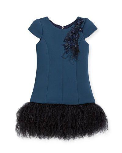 124ddefea432 K0QV3 Zoe Feather Flounce Drop-Waist Dress, Size 7-16 | Clothes ...