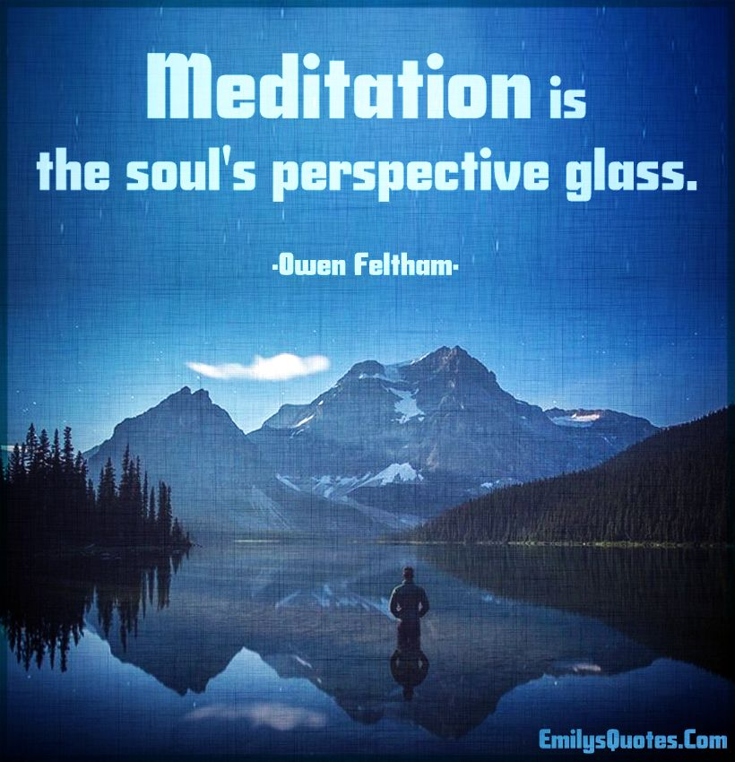 Meditation is the soul's perspective glass