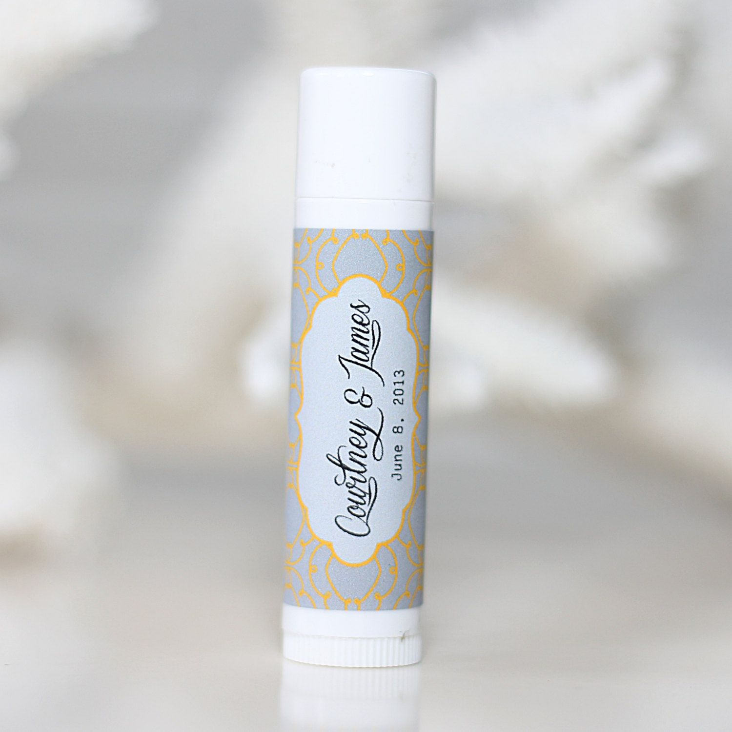 Personalized lip balm stickers elegant wedding names for Stickers for wedding favors