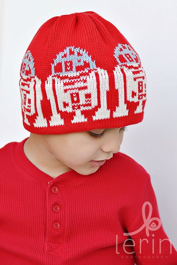 R2D2 Knit Hat For the Kids in a galaxy far far away Valentine Red ...