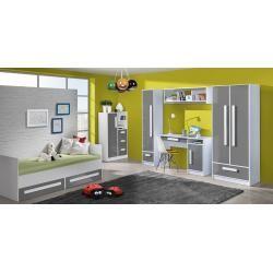 Photo of Habitación infantil – estante colgante / estante de pared Walter 10, color: blanco / gris alto brillo – 41 x 120 x 32 cm (H