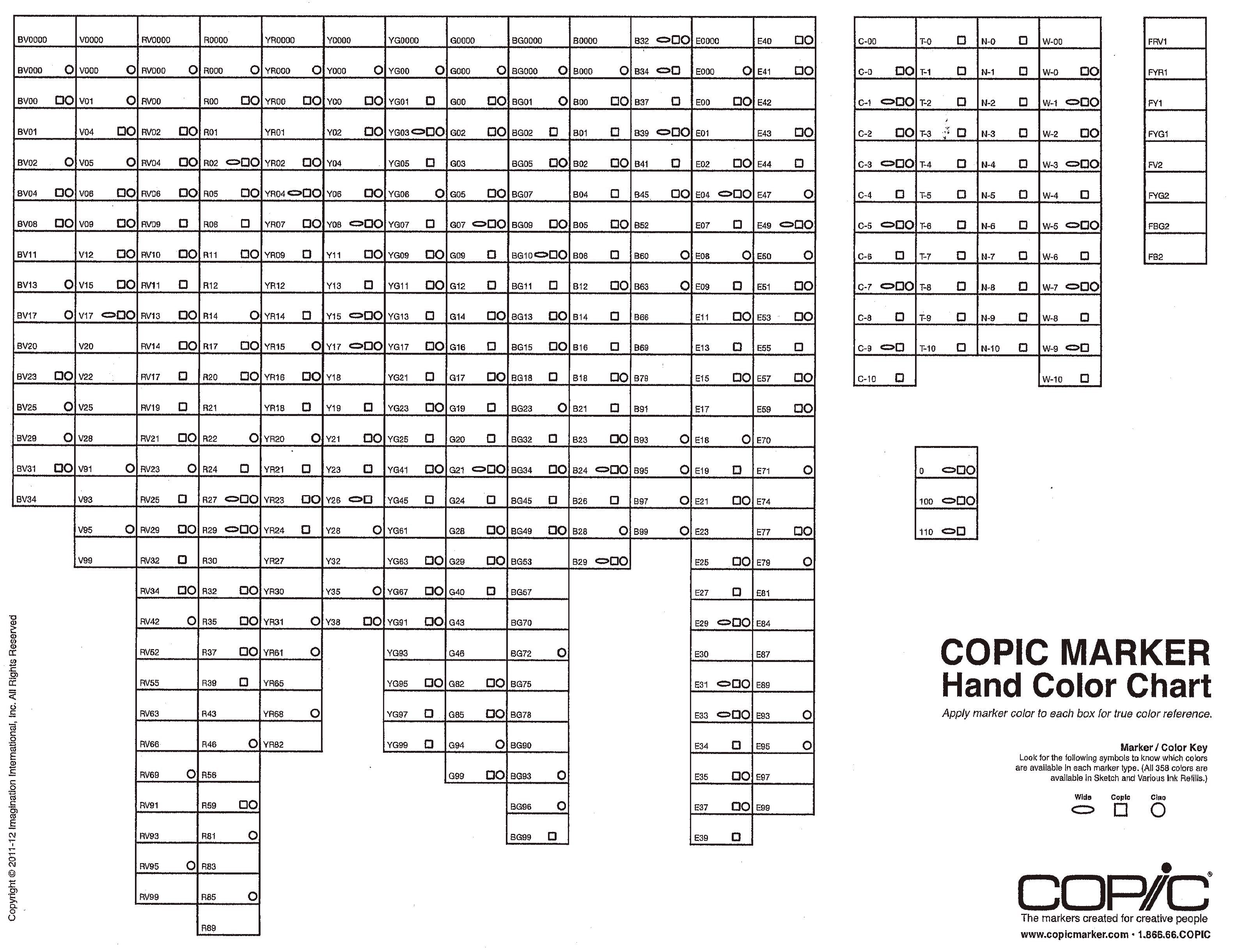 This is a graphic of Gutsy Copic Marker Sheet