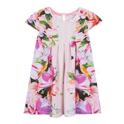 407c9395fa0599 Baker by Ted Baker Girls  light pink floral print pleated dress and headband  set-