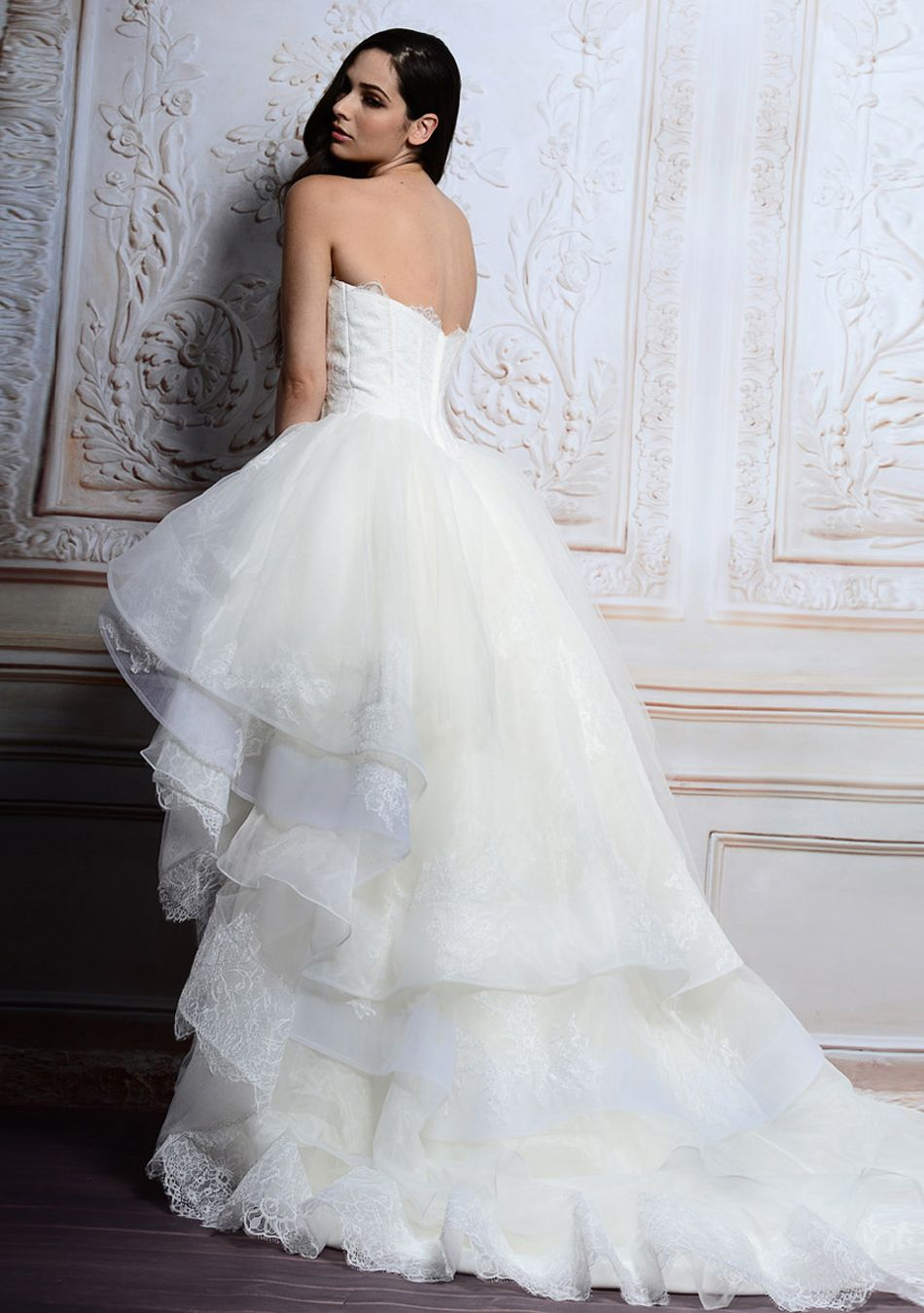 Fantastic morden short white lace ball gown wedding dress for Short open back wedding dresses