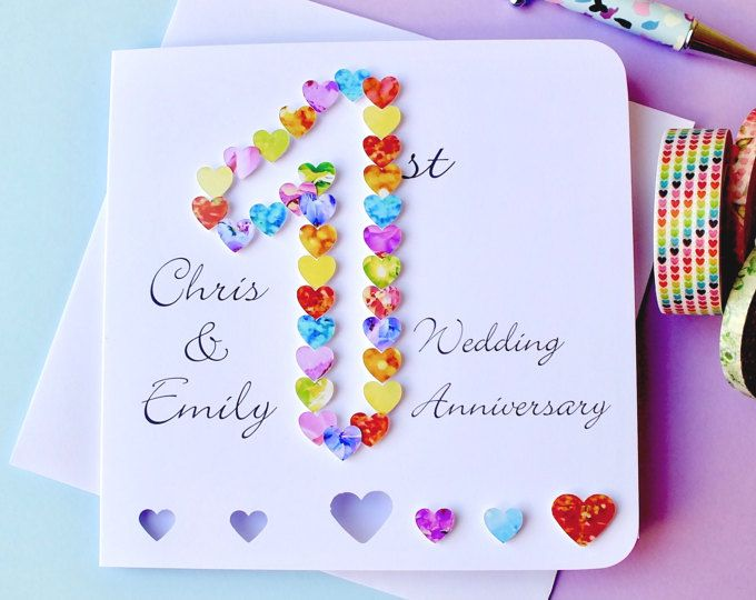 Handmade Personalised 1st 2nd 5th 8th 9th Any Wedding Anniversary Card