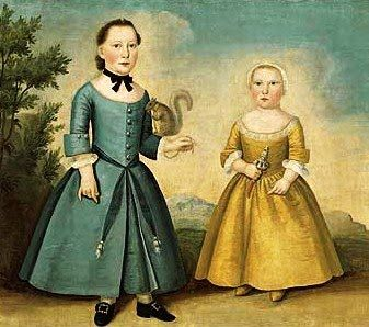 18th Century Paintings of Women | Joseph Badger (1708-1765). Portrait of Two Children. 1760