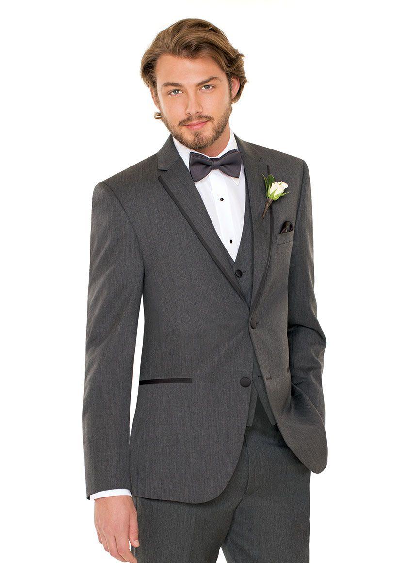17cfa4986 Michael Kors 1248 Grey, notch lapel, two-button vented tuxedo with grey  satin