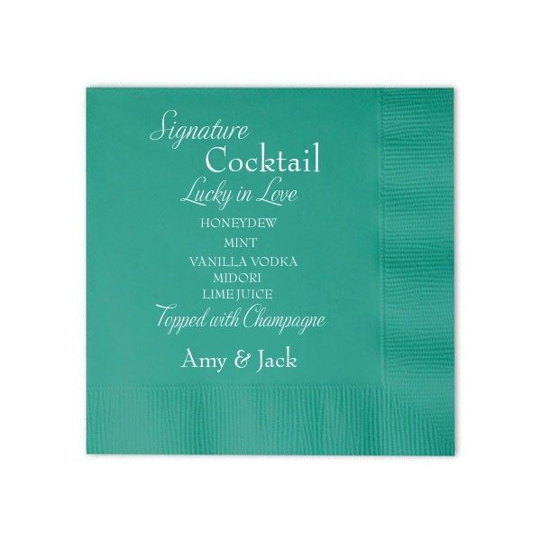 Signature Tail Personalized Wedding Napkins Pink Poppy Party Pe 1