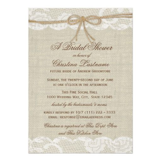 His Hers Wedding Invitations Templates: Country Rustic And Lace Wedding Bridal Shower Invitation