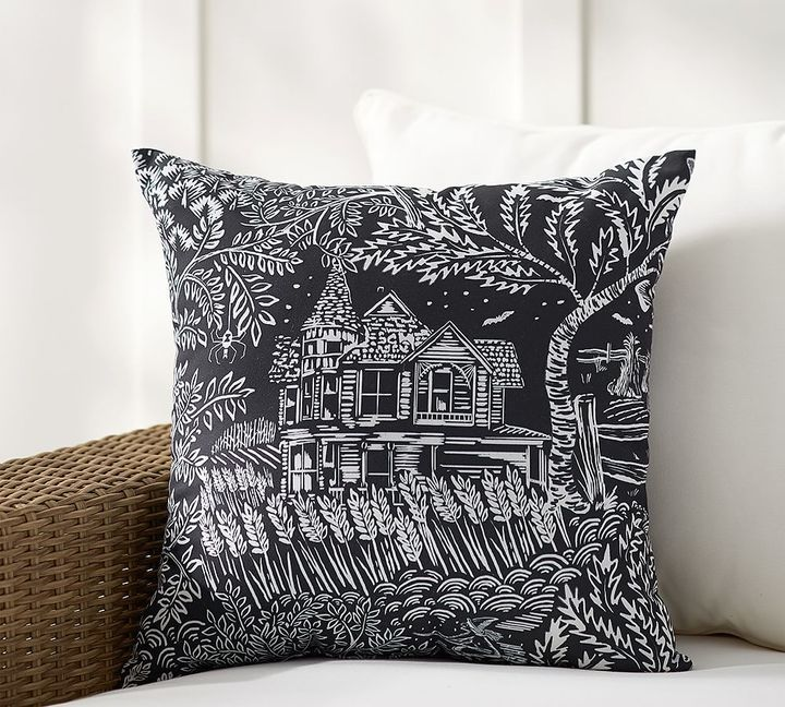 Spooky House Print Indoor Outdoor Pillow Halloween Decor