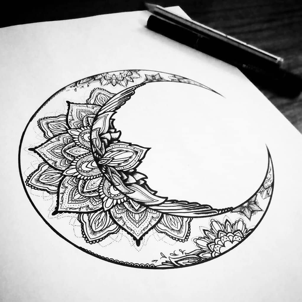 Beautiful Crescent Moon By Yantrart Design Geometric Tattoo Moon Tattoo Cresent Moon Tattoo