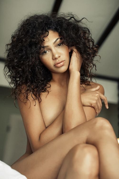 Black curly hair naked
