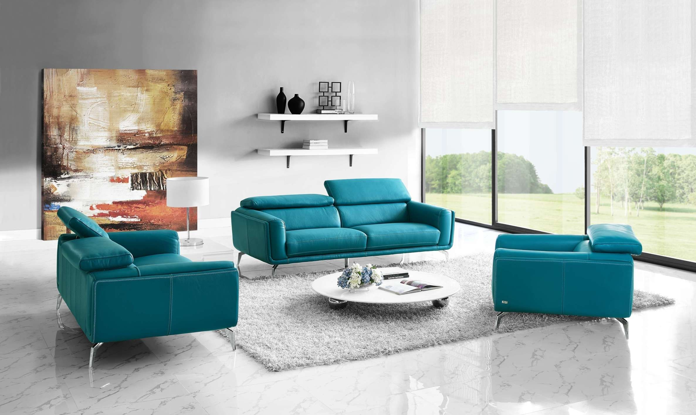 Turquoise Leather Sofa Set