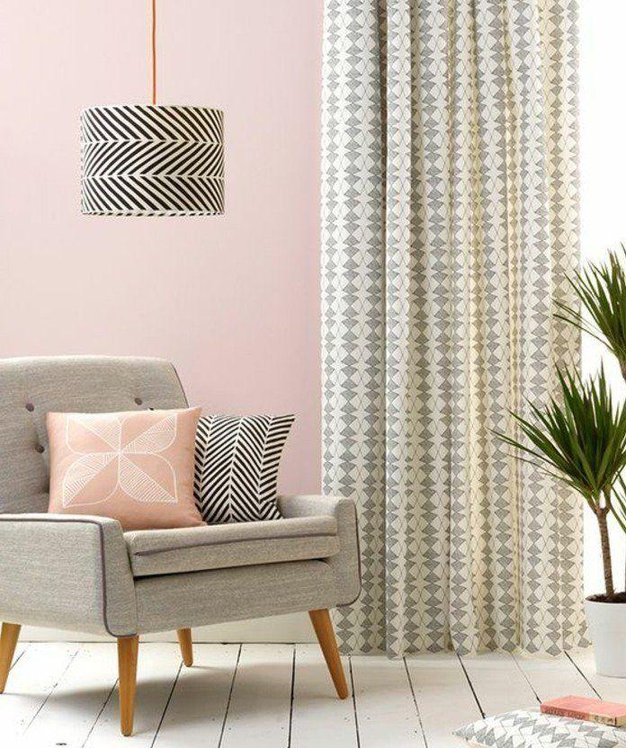 d co salon gris 88 super id es pleines de charme salons roses rideaux gris et salons gris. Black Bedroom Furniture Sets. Home Design Ideas