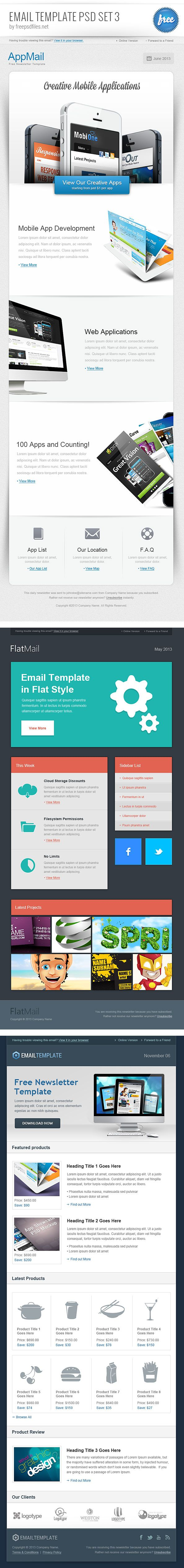Email Template Psd Set 3 Email Marketing Pinterest Email