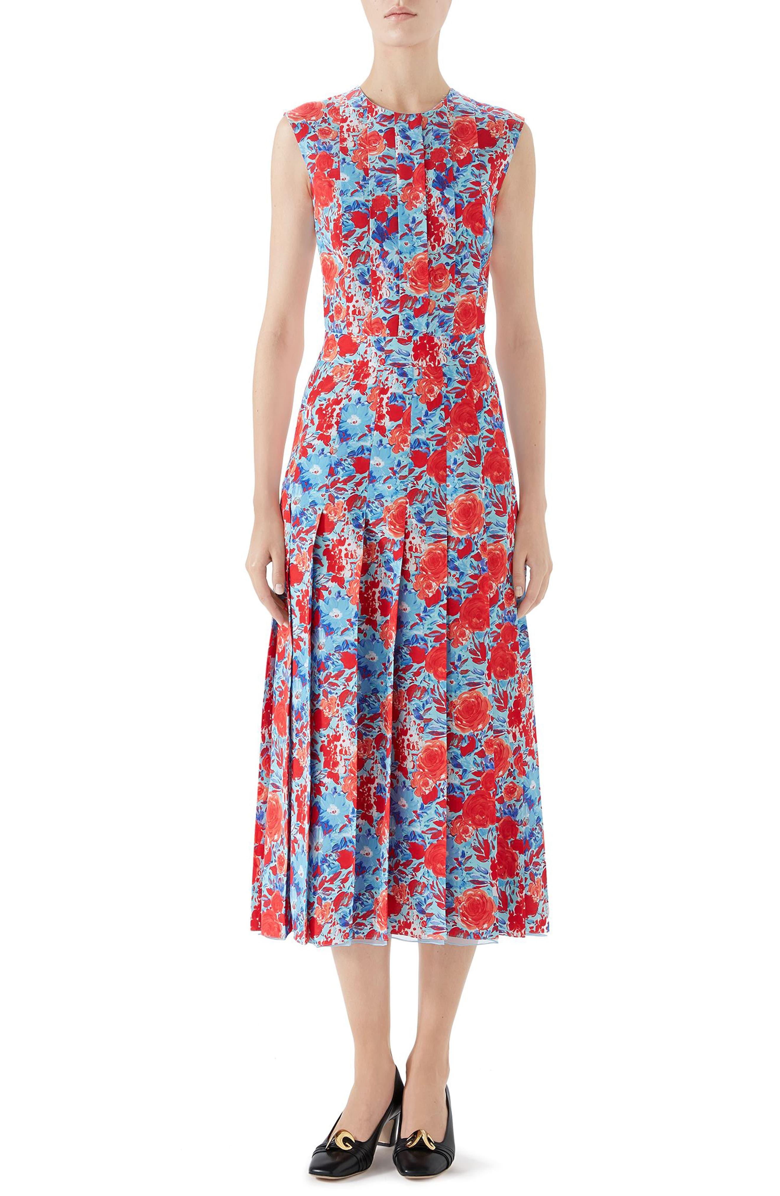 41fb25ae4c Women's Gucci Floral Print Pleated Silk Midi Dress, Size 2 US / 38 ...