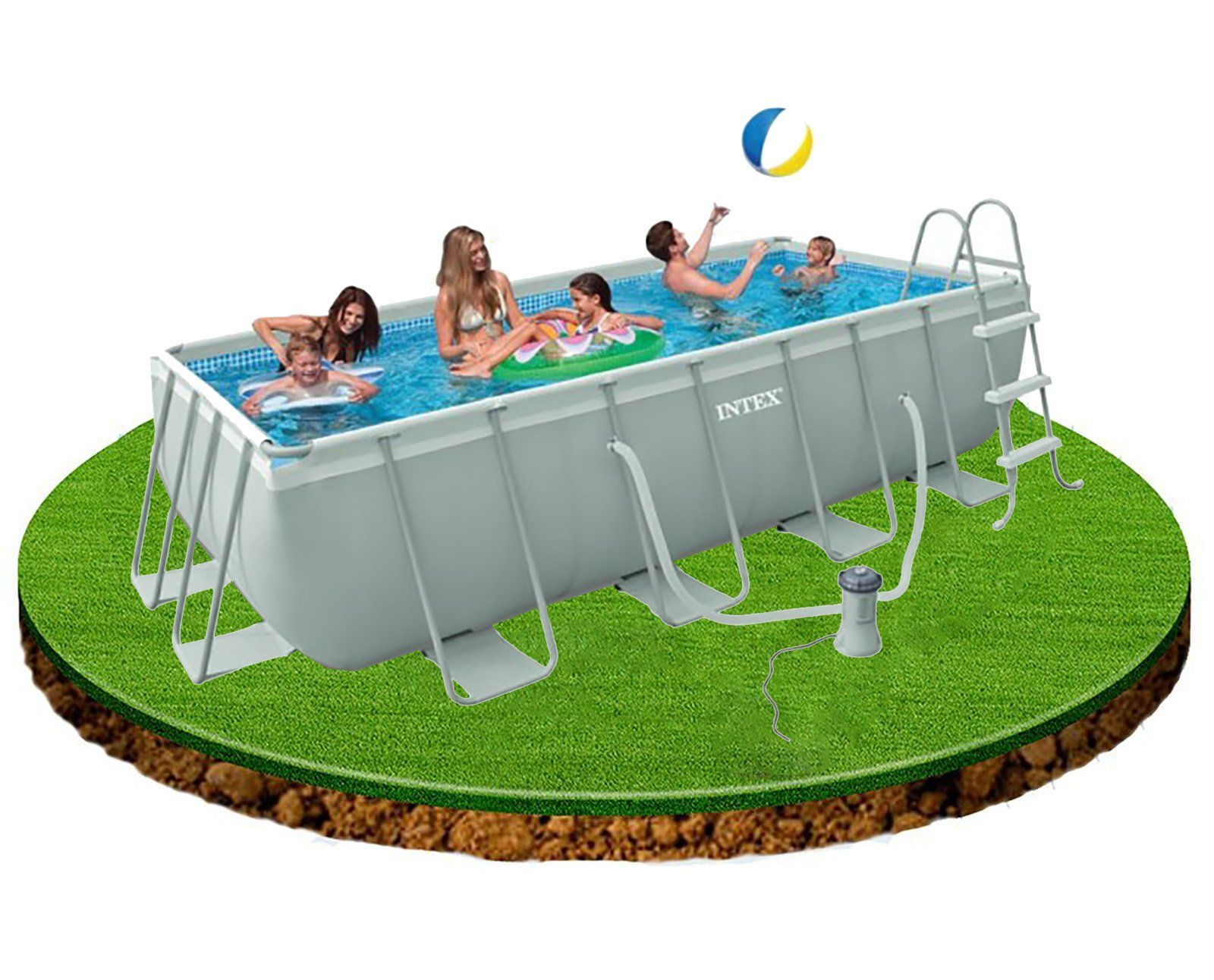 Intex 4m x 2m x 1m deep Rectangular Ultra Frame Swimming Pool with ...