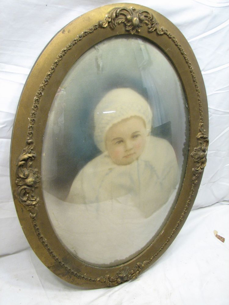 Early Gesso Wood Gold Gilt Dome Bubble Glass Picture Frame Convex ...