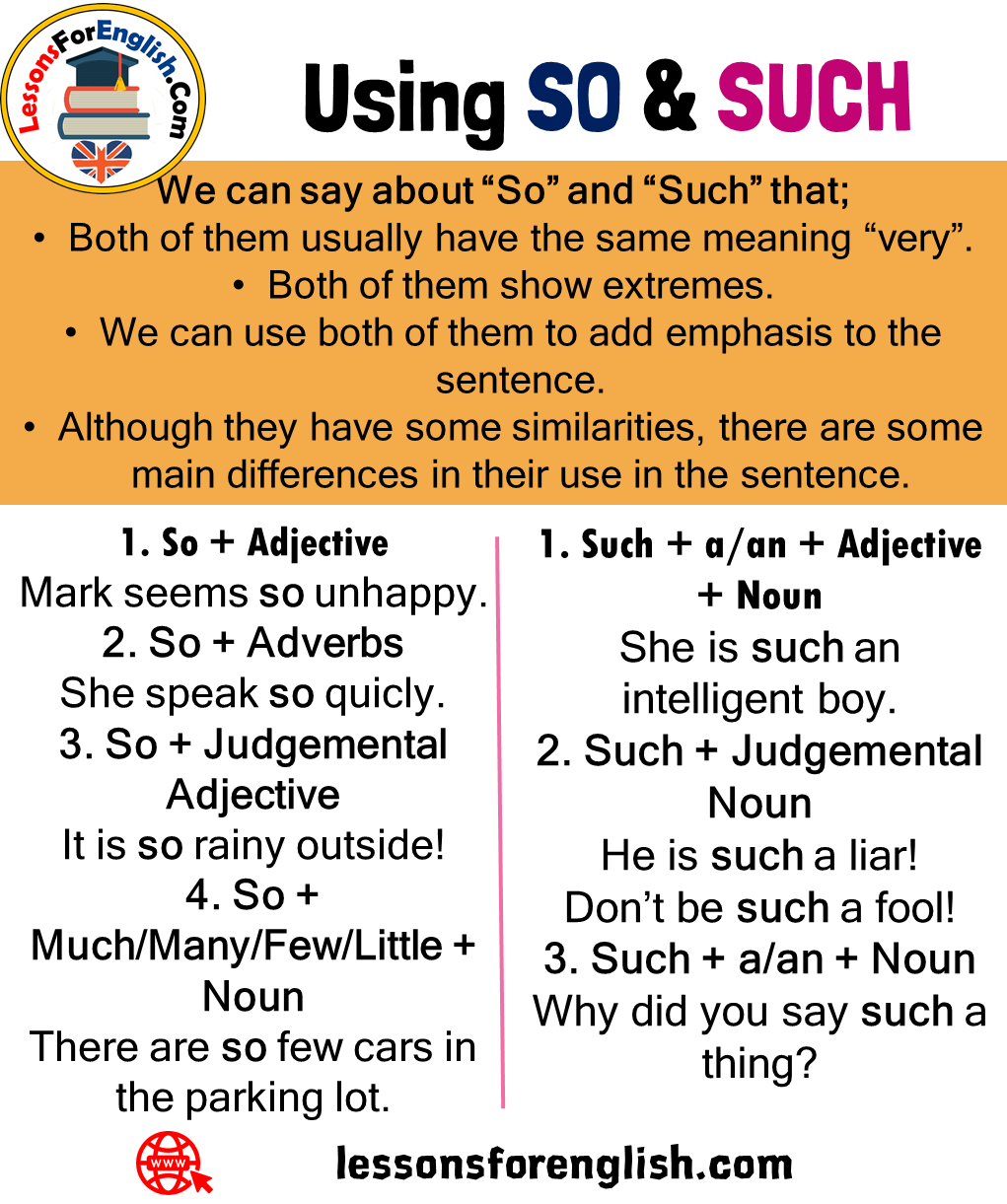 Using So And Such Definition And Examples We Can Say About So And Such That Both Of Them U Learn English Words Good Vocabulary Words Essay Writing Skills [ 1221 x 1021 Pixel ]