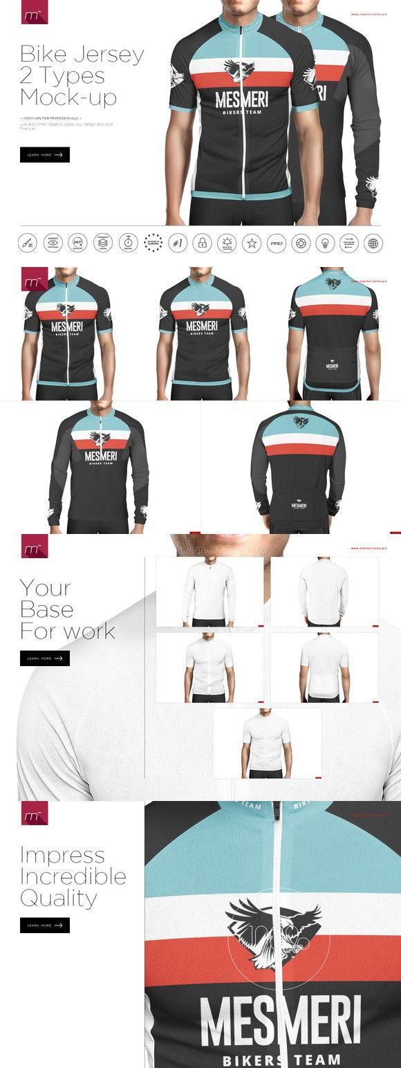Bike Jersey 2 Types Mock-up. Gradients Photoshop.  15.00  24461b581