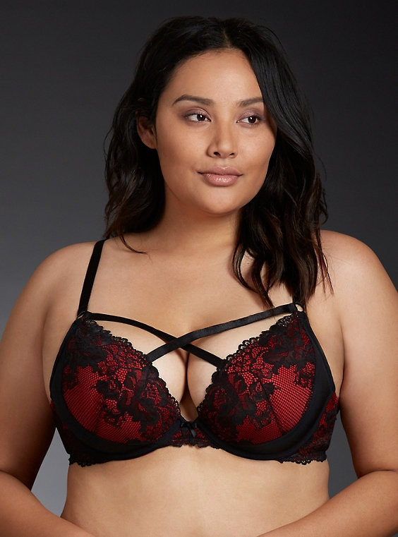 bd2d5f461feaf Black   Red Push-Up Plunge Bra in 2019