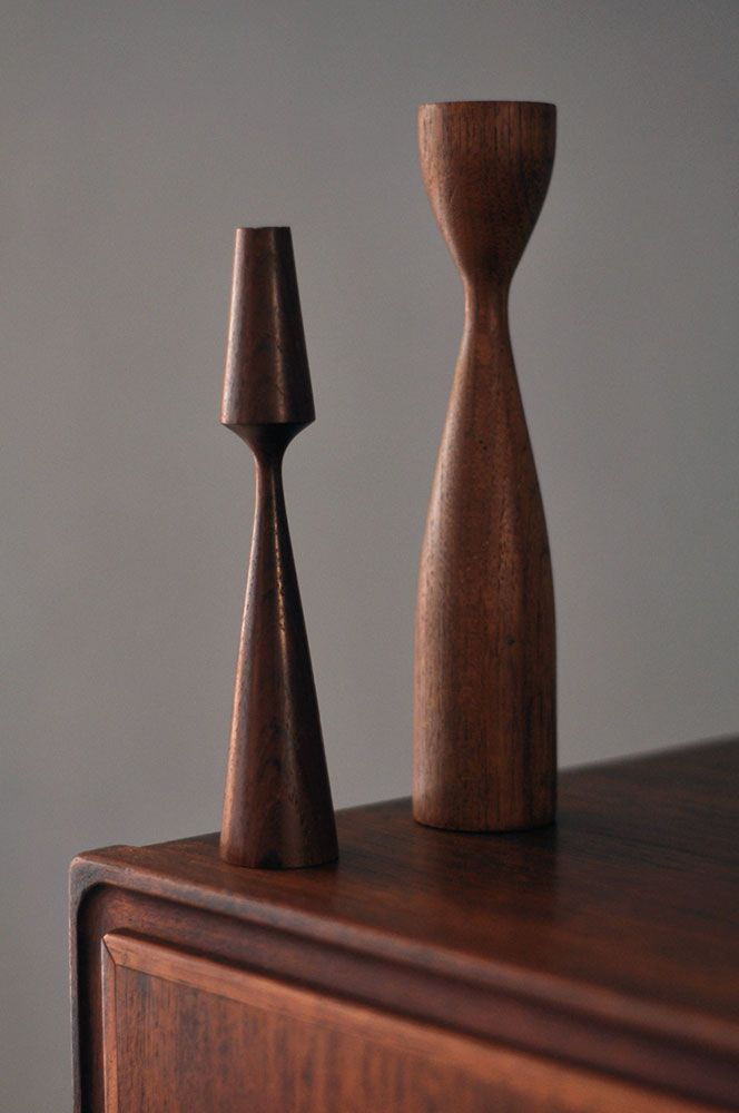 // Danish teak candle sticks from the 60ies £45    __www.forestlondon.com__