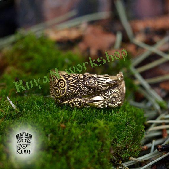 Odin S Ravens Ring Huginn And Muninn Ring Raven Ring Viking Ring