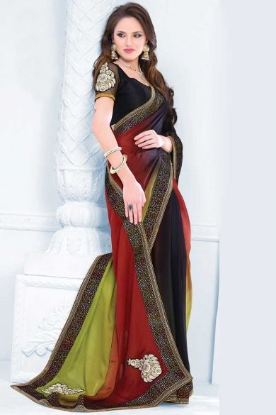 Persian Red and Black Faux Georgette Embroidered Festival Saree Sku Code:10-3946SA50620 $ 86.00