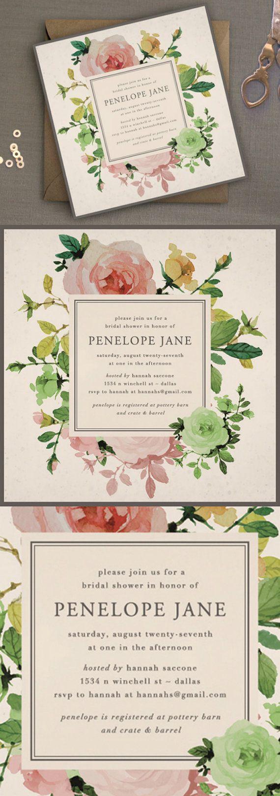 Printable Bridal Shower Invitation, Unique Shower Invitation, Rose Garden Shower…