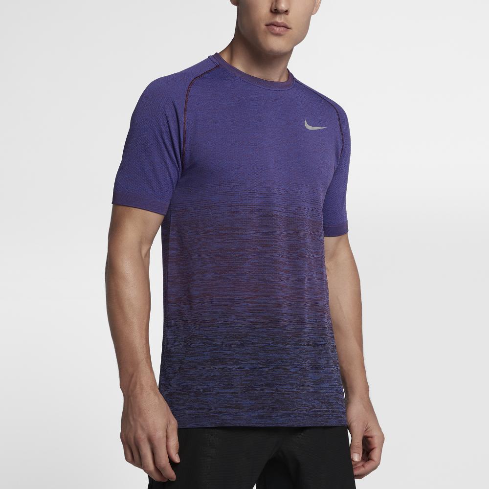 33020cae326400 Nike Dri-FIT Knit Men s Short Sleeve Running Top Size Medium (Purple ...