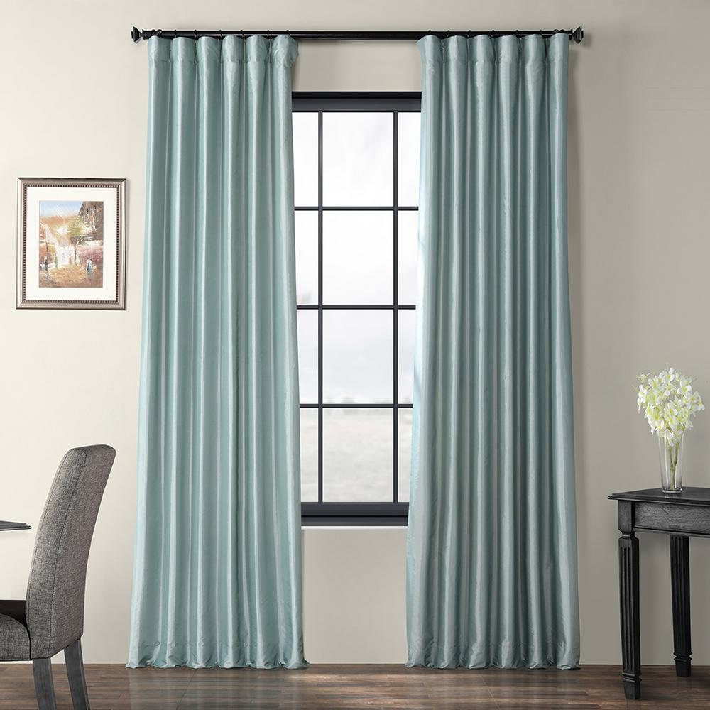 Exclusive Fabrics Furnishings Robins Egg Blue Faux Silk Taffeta Light Filtering Curtain 50 In W X 120 In L Ptch Jtsp5 120 Panel Curtains Colorful Curtains Curtains