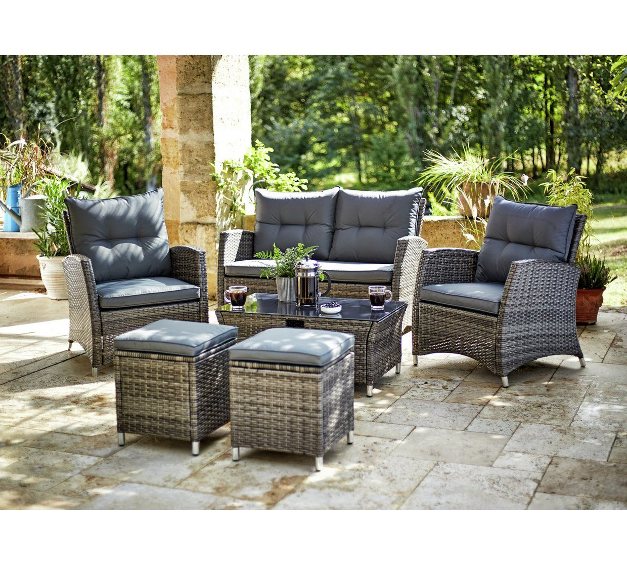 Buy Collection Rattan 7 Piece Set with Storage at Argos.co