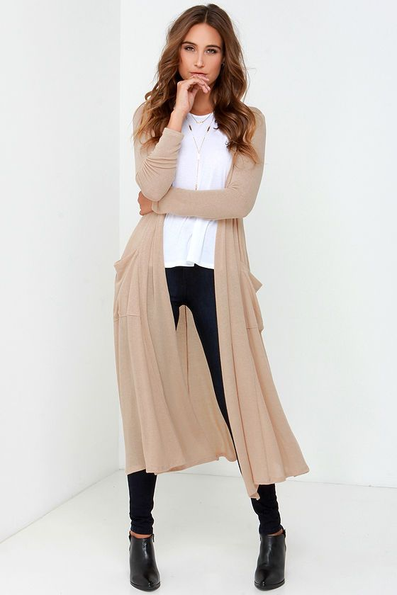 Warm Wishes Beige Long Cardigan Sweater at Lulus.com!