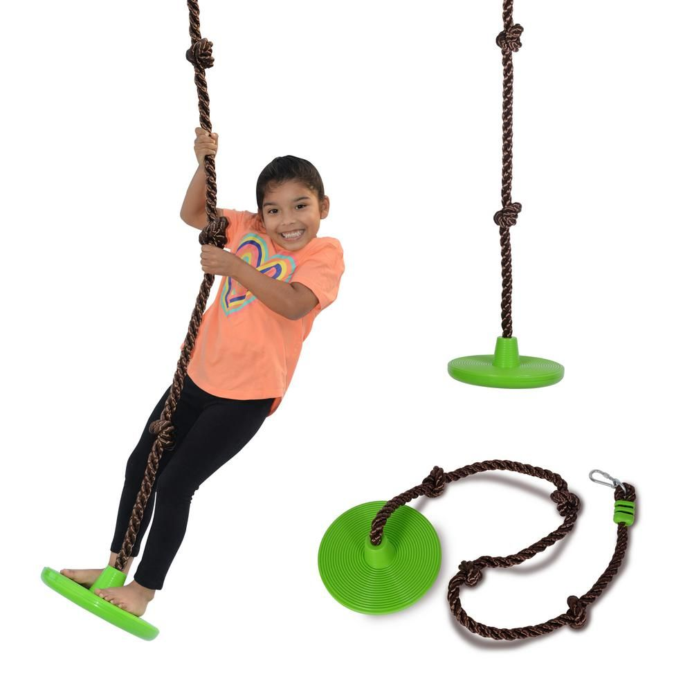 Swurfer Disco 3 In 1 Multi Purpose Sit Stand And Climb Disc Swing Heavy Duty Climbing Rope Swing Green Rope Swing Climbing Rope Family Picnic