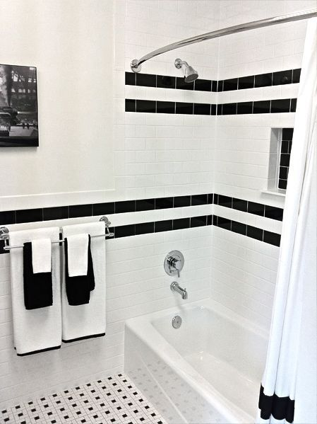 Lovable Black And White Bathroom Tile Ideas Interior Captivating