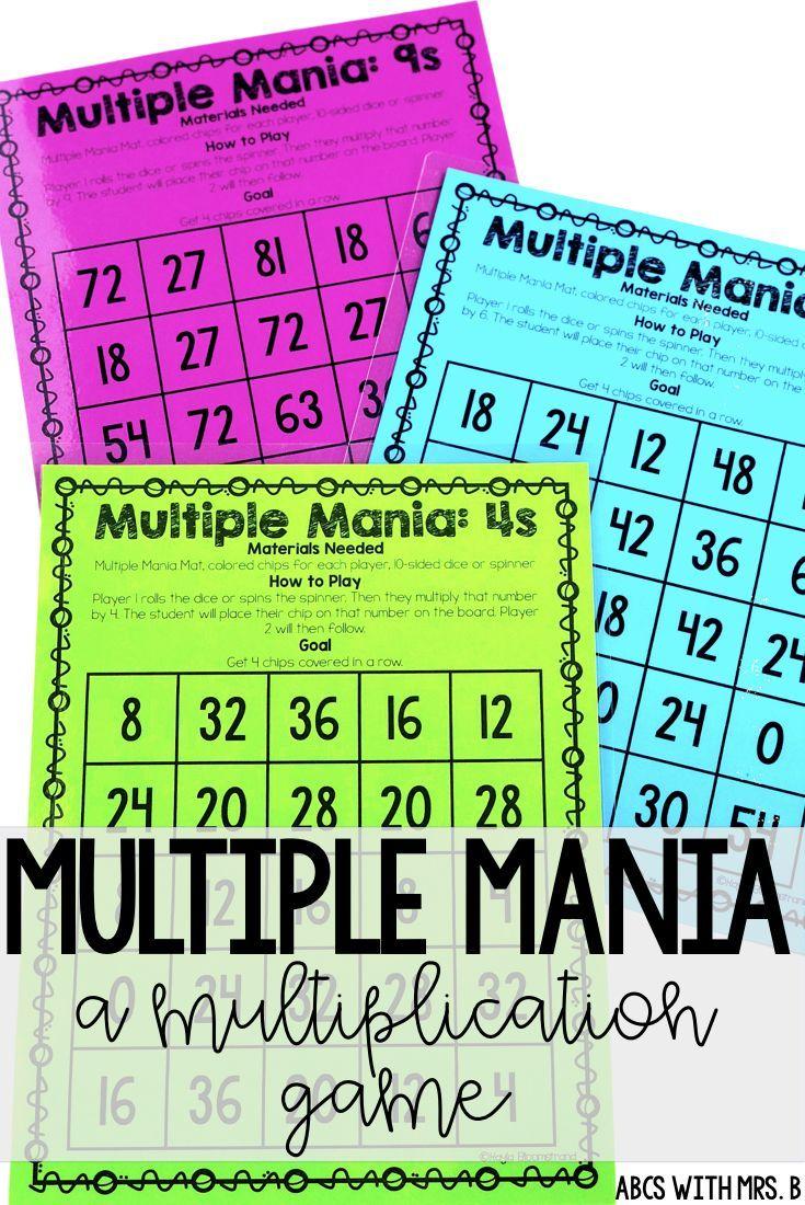 Multiple Mania: A Multiplication Fact Game | Multiplication, Math ...