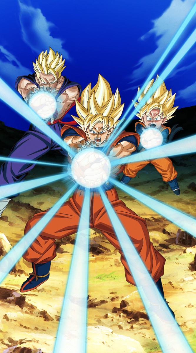 Family Kamehameha Bg Dokkan Battle By Maxiuchiha22 Dragon Ball Wallpapers Dragon Ball Art Dragon Ball Super Goku