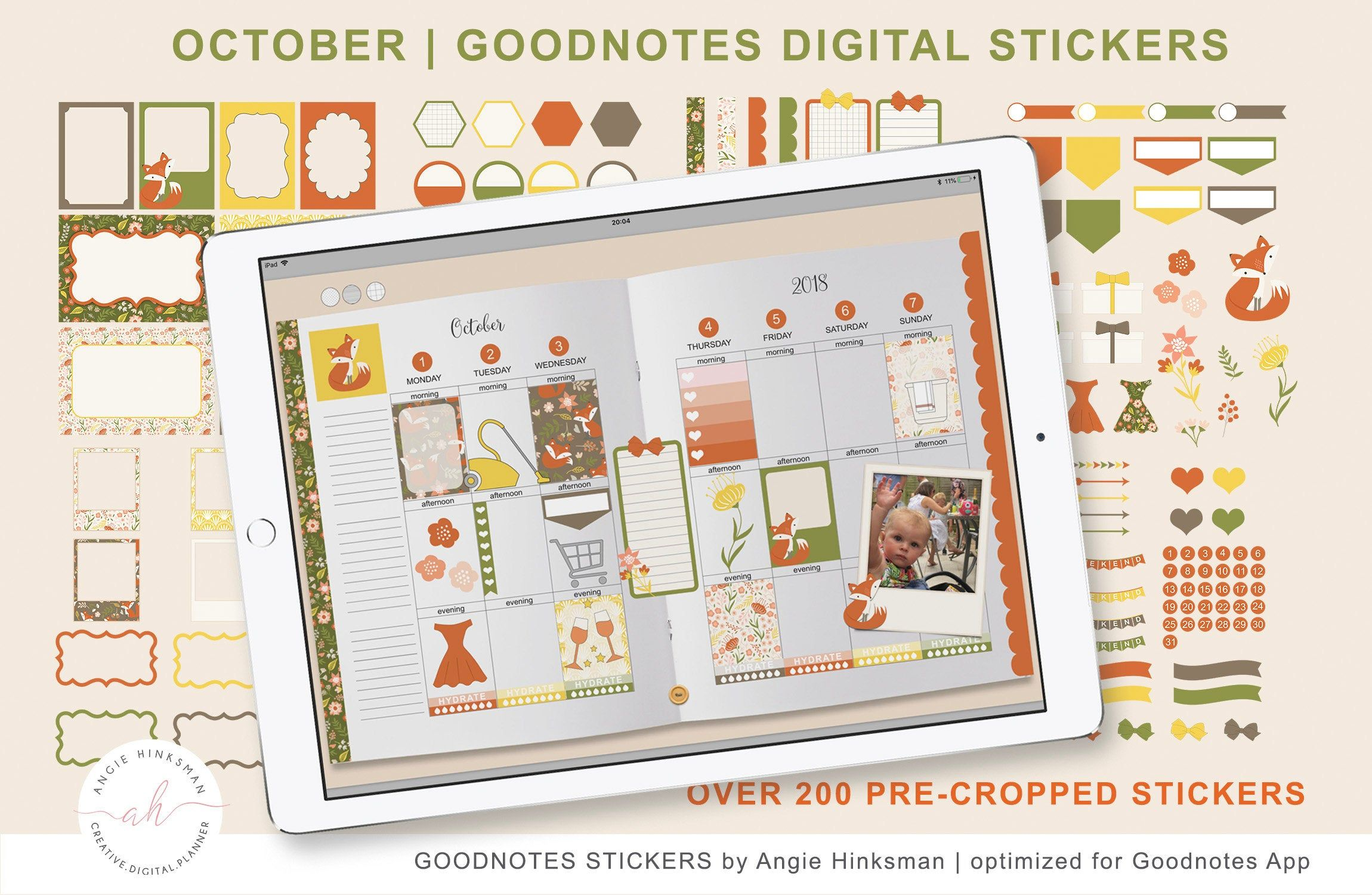 Goodnotes digital sticker set october instant download