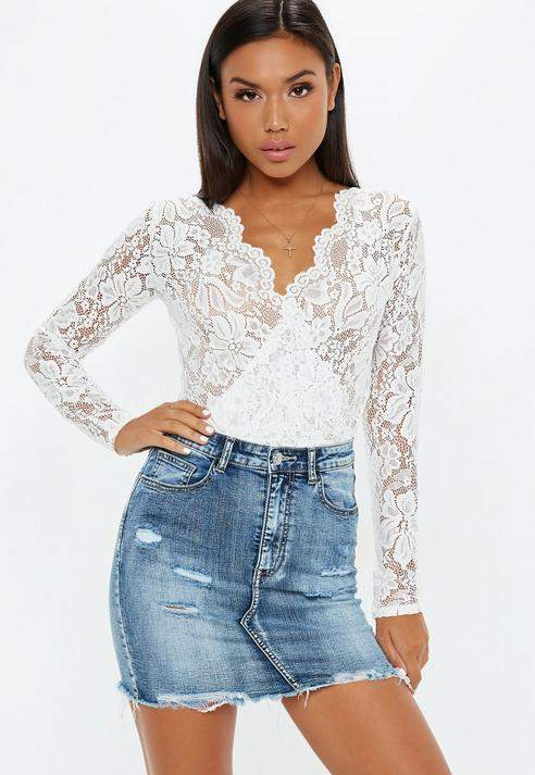 fe05b3725dd2 White Sheer Lace Deep Plunge Wrap Over Bodysuit in 2019 | CLOTHES ...