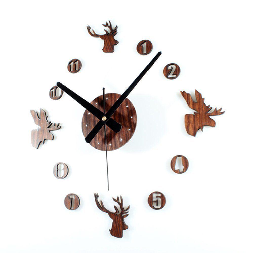 Amazon.com: LOME(TM)deer Heads Rustic Creative DIY Self Adhesive Acrylic  Living Room Decoration Wall Clock Quartz 3D Digital Home Nursery Decor  Retro Art ...