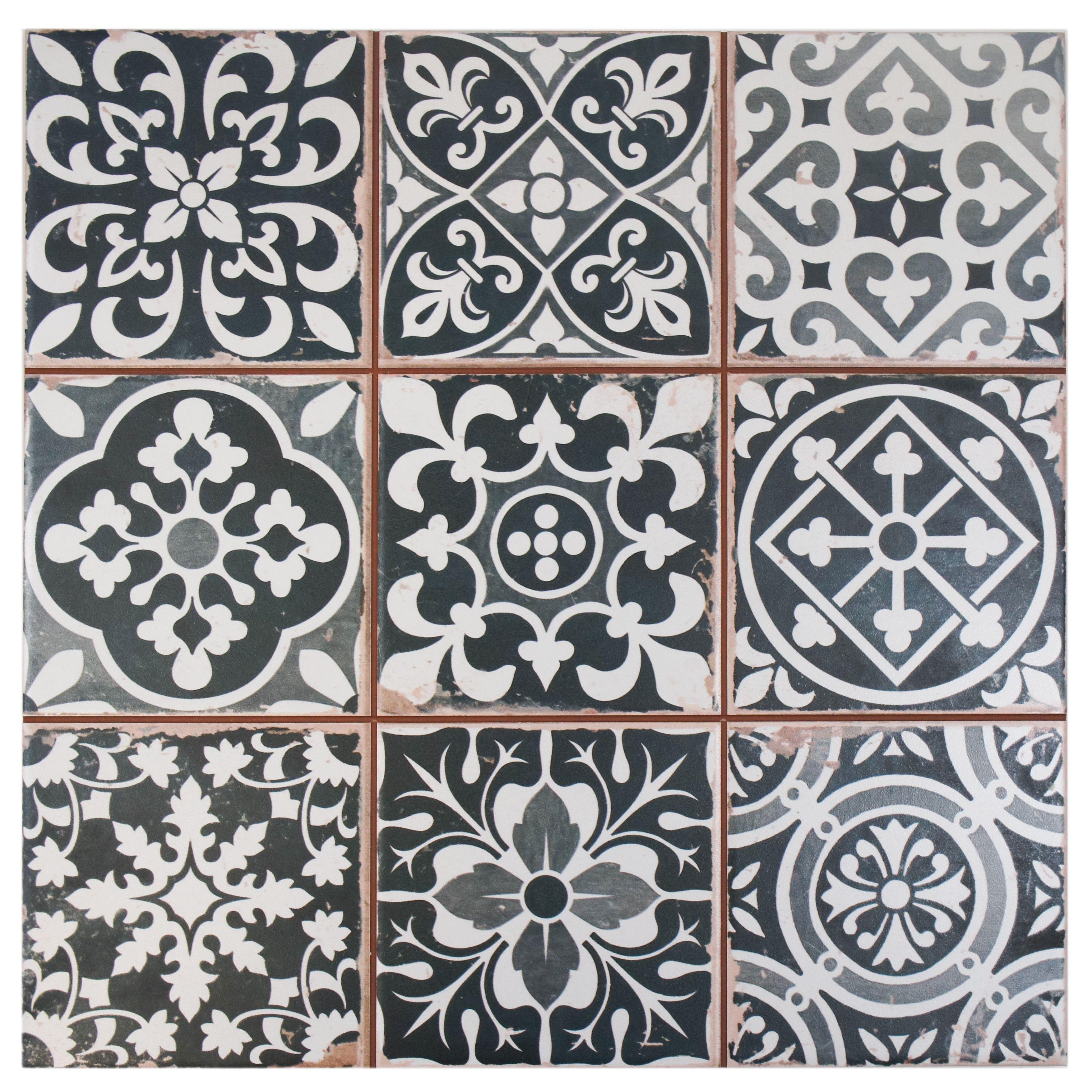 Somertile 13x13 inch faventia nero ceramic floor and wall for Carrelage motif retro