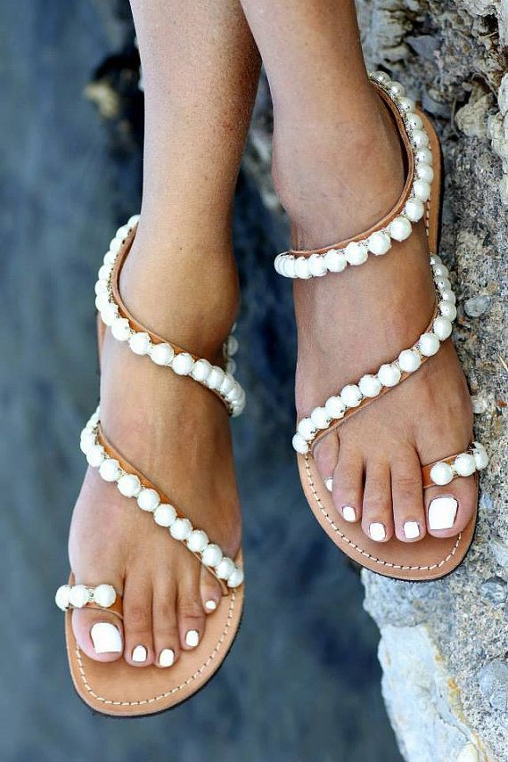 5fd2ce1f9 Sandals decorated with Italian pearls Evelyn by ElinaLinardaki ...