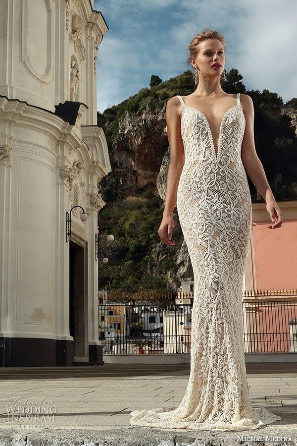Monica Champagne Ivory Fl Lace Column Sheath Wedding Gown Showcasing A Dramatic Plunging Neckline Down To The Navel By Michal Medina Spring